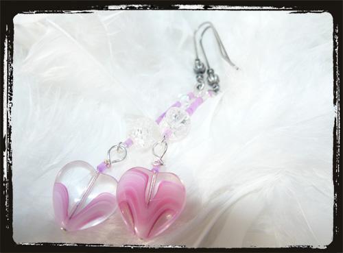 orecchini cristallo cuore rosa