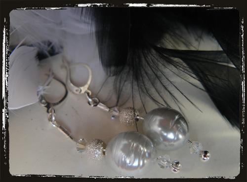 orecchini in argento con perle difiume