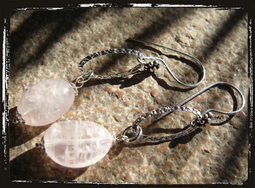 orecchini argento con quarzorosa