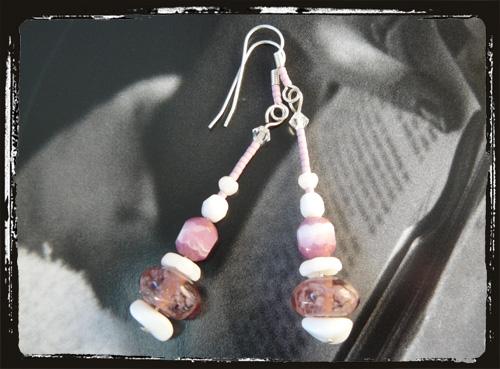 orecchini rosabianco