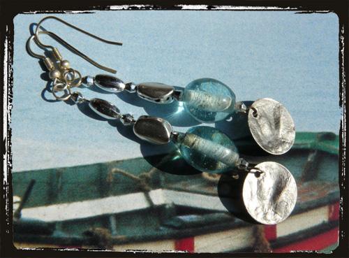 orecchini con perla azzurra ezecchino