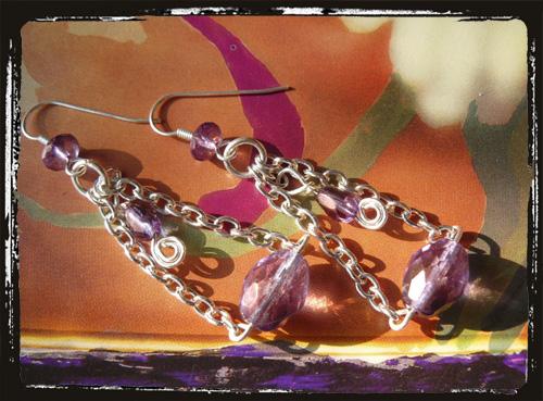 orecchini con catene lusteramethist