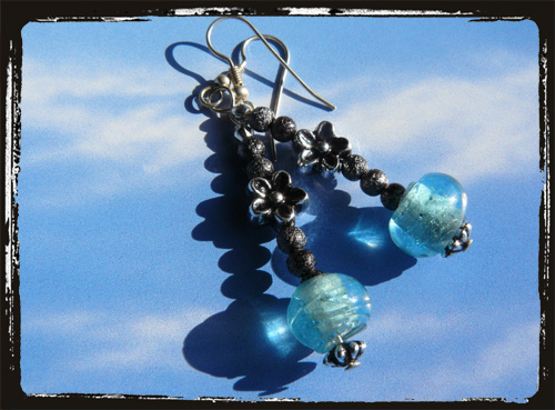 black and light blue earrings