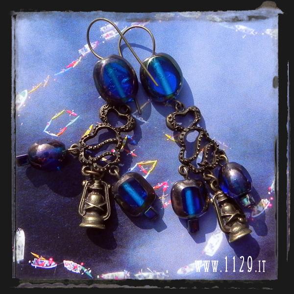 LLHURR orecchini blu bronzo bronze blue earrings 1129