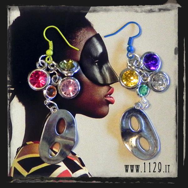 MAMASK orecchini multicolore maschera carnevale mask multicolour earrings 1129design