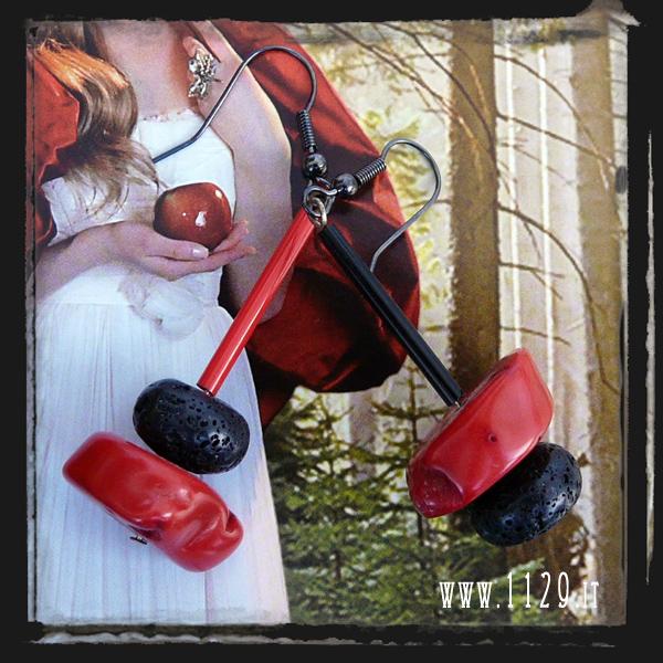 MALACO orecchini rossi neri corallo pietra lavica black lava red coral earrings