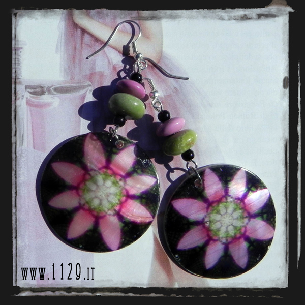 MCFUNE-orecchini-madreperla-fiore-nero-turchese-fucsia-verde-pink-green-turquoise-mop-flower-silver-earrings
