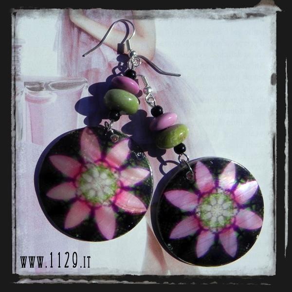 MCFUNE-orecchini-madreperla-fiore-nero-turchese-fucsia-verde-pink-green-turquoise-mop-flower-silver-earrings