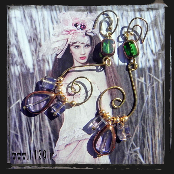 MCOROV-orecchini-verdi-viola-golden-purple-green-baroque-earrings-1129