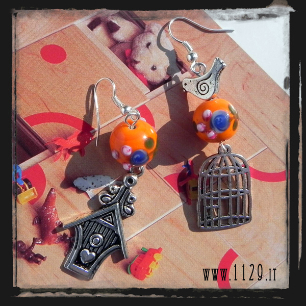MCUCCE orecchini arancio uccellino gabbia cucu bird cage orange charms earrings 1129