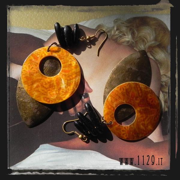 MFBRON orecchini bronzo madreperla onice
