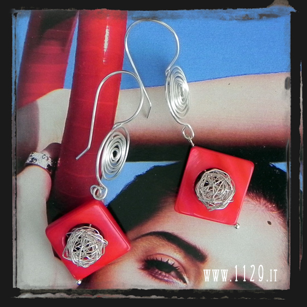 MCROPE orecchini rossi spirale argento   silver spiral red mop earrings 1129