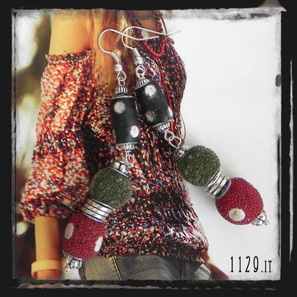 LFALES-orecchini-rosso verde nero kashmiri-handmade earrings-1129