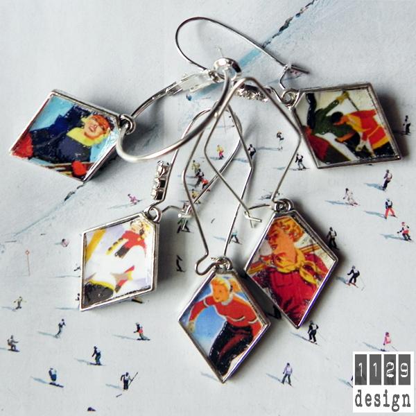 BLORSC-serie-orecchini-vintage-sci-poster-argento-ski-retro-earrings