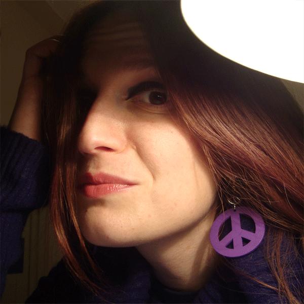 anna orecchini pace viola legno