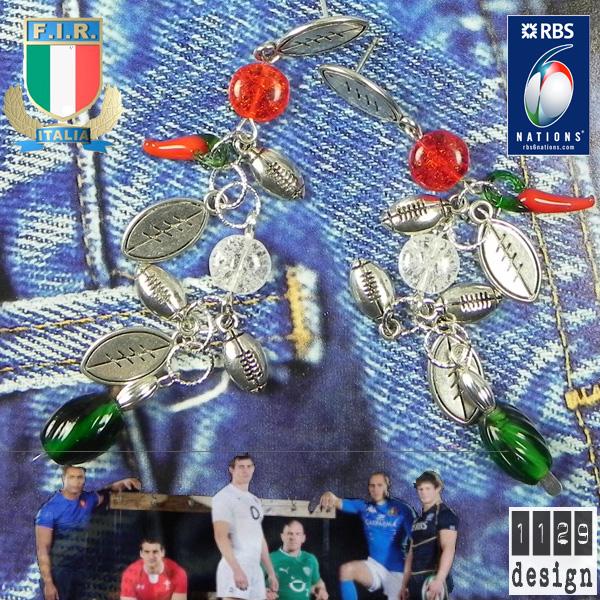 orecchini tricolore italia rugby 6 nazioni 2012