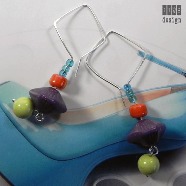 orecchini argento design contemporanei perle resina vintage multicolore